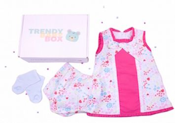 Fun and Funky Pink Patterned dress with matching knickers. One of our Baby Girl Boxes sent out by Trendy Baby Box Subscription boxes