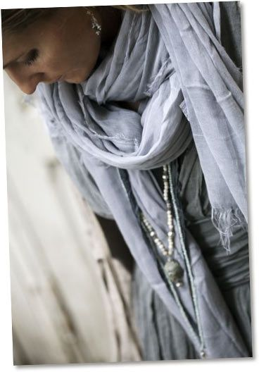 grey scarf and beads   style   Pinterest Fashion Scarf With Beads
