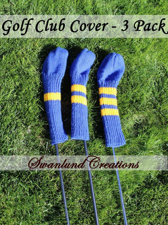 https://SwanlundCreations.etsy.com - These one size fits most striped Golf Club Head Covers come as a 3-pack and are made from 100% Acrylic making them machine wash and dry able.