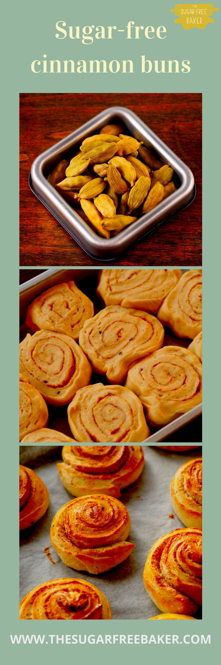 Delicious, homemade, sugar-free cinnamon buns - The Sugar-Free Baker | Sugar free baking | Sugar free dessert | Sugar free recipes | Sugar free diet | Cinnamon buns recipe | Homemade cinnamon buns