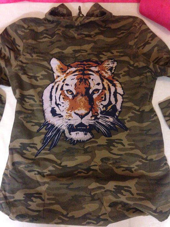 Tiger army shirt size 14 embellished tiger on back with gems