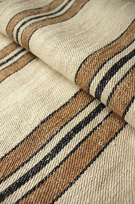 Rare ~ black and caramel striped Vintage European grain sack ~ LOVELY heavy weight ~
