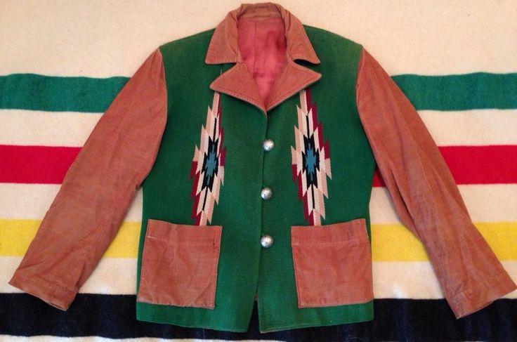 RARE VTG 1930's 40's CHIMAYO INDIAN BLANKET HAND WOVEN SOUTHWEST JACKET SZ 12