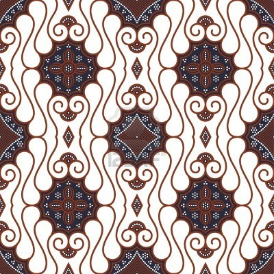 Seamless Javanese Batik Pattern Stock Photo