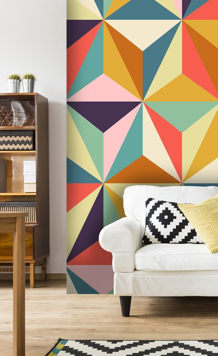 Take Your Lounge Back To The Swinging 60 S With This Colourful Retro Wallpaper Featuring A Trian Wallpaper Decor Geometric Wallpaper Kitchen Retro Wallpaper