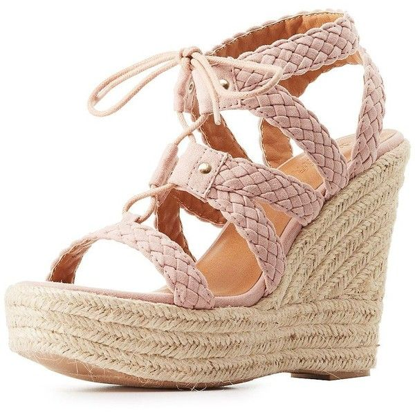 Charlotte Russe Woven Espadrille Wedge Sandals ($39) ❤ liked on Polyvore featuring shoes, sandals, lace up sandals, wedge shoes, lace up wedge sandals, braided wedge sandals and wedge sandals
