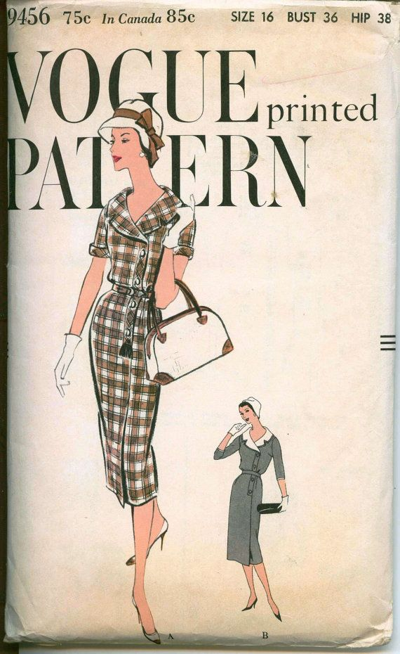 1950's Vintage Sewing Pattern - Vogue Portrait Collar Sheath - VOGUE 9456 - Asymetrical Button Closing - Circa 1958