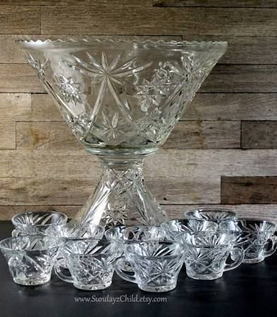 Anchor Hocking Star of David - (2) Punch Bowls w/cups.