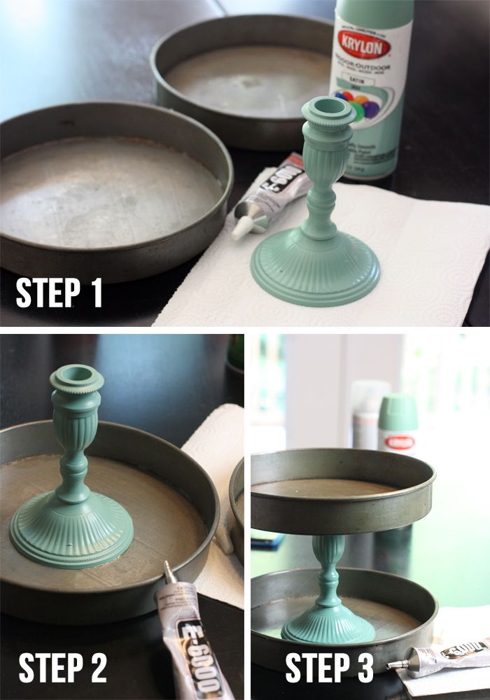 RUSTIC TREAT STAND...2 Baking Cake Pans, 1 Candlestick, E6000 adhesive (Michaels),Spray paint (opt)..Paint candlestick (wood/metal/glass): prime+spray+let fully dry.Measure center of baking pans (if different sizes-use largest one)+mark. Add glue to candlestick's bottom rim & place over center mark on pan. Allow to dry-several hrs (takes 24hrs to fully dry but can go to next step after 2-3 hrs). Measure 2nd pan's bottom & mark. Add glue to top of candlestick & place pan on top.Allow 24hrs to…
