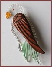 From Cobayley Vintage Jewelry Antiques Collectibles - Very Retro Large Lucite and Wood Bird Pin