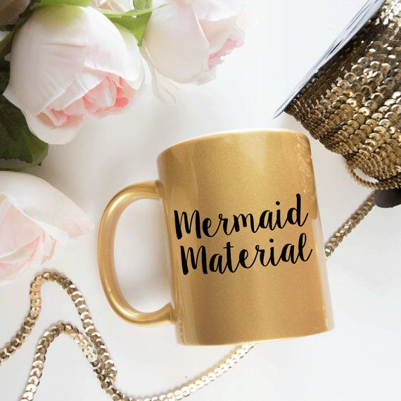 Gold Mermaid Material Mug Gold Coffee Mug by foxandcloverboutique