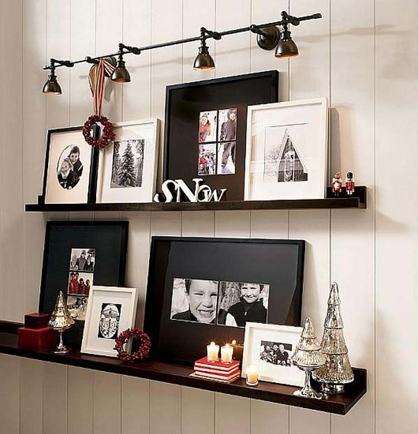 5. Hang a wall shelf. Do you have several some pieces of different sizes? Hang a wall shelf . You can even add a few objects that relate the your art to add interest.