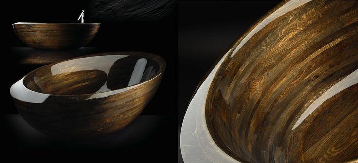 Luxury wooden bathtub with Bohemian garnet   www.resine.info