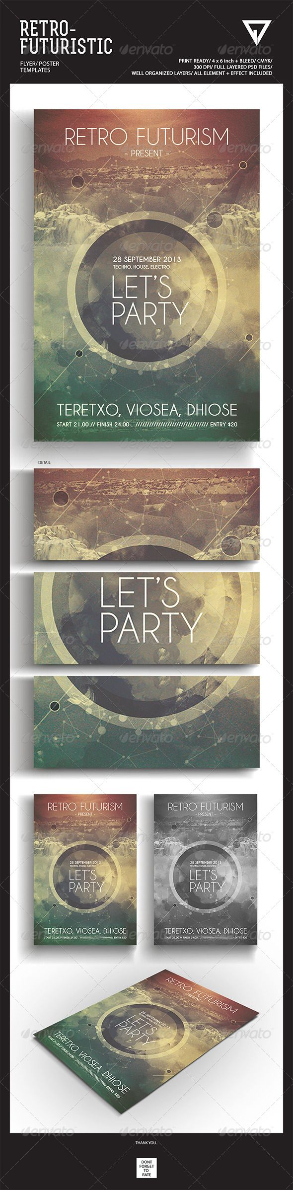 """Retro Futuristic Flyer/Poster #GraphicRiver Featured Flyers Flyer Artwork """"Let's Party"""" This flyer was designed to promote an Electro / Dubstep / Dance / Drum and Bass / Techno / House music event, such as a gig, concert, festival, dj set, party or weekly"""