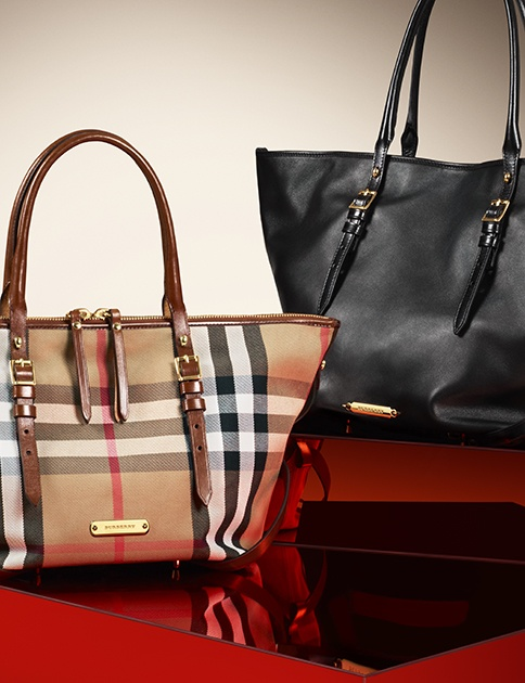 Elegant Burberry tote bags in soft nappa leather and iconic check with bridle leather trim