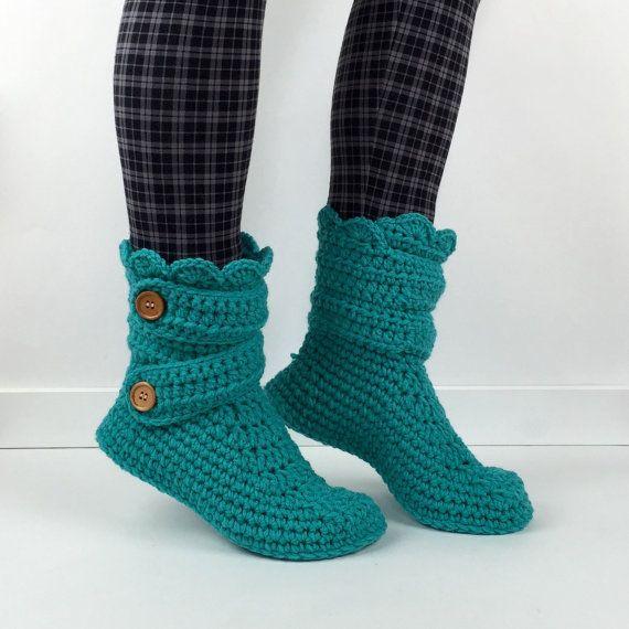 Women's Crochet Teal Slipper Boots, Crochet Slippers, Crochet Booties, Crochet House Shoes, Crochet Winter Boots, Blue Green Slipper Boots