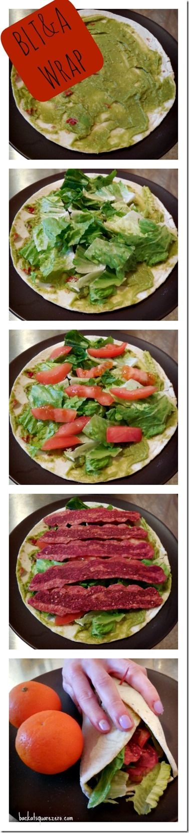 BLT&A Wrap: This wrap is a simple and speedy with only 5 ingredients.  It is gluten free (with Udi's tortillas), uses heart healthy fats from avocado, and by subbing in low sodium turkey bacon you lose the guilt and keep the flavor.  #glutenfree #healthyfats #simplemeal