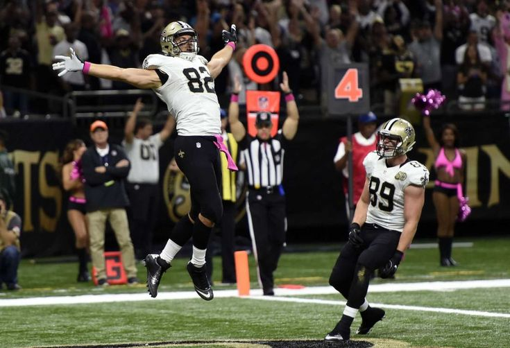 Panthers vs. Saints:      October 16, 2016  -  41-38, Saints  -    New Orleans Saints tight end Coby Fleener (82) celebrates his touchdown with tight end Josh Hill (89) in the first half of an NFL football game in New Orleans, Sunday, Oct. 16, 2016.