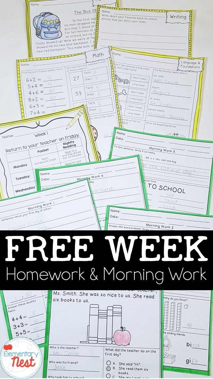 Predownload: Free First Week Of Morning Work And Homework Full Week For Free For Kindergarten First Grade A Teaching Resources Primary Elementary Teacher Favorite Things [ 1280 x 720 Pixel ]