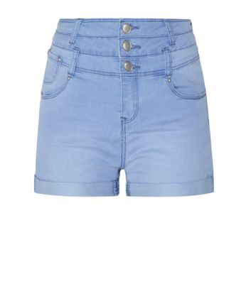 Pale Blue High Waisted Turn Up Denim Shorts £14.99 New Look
