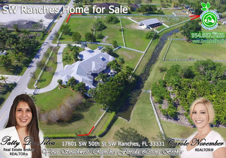 FOR SALE ~ Incredible equestrian custom mansion at 6,386 sq feet in #SouthwestRanches built in 2008 sits on 3.6 pristine acres by Serene Creek. Enjoy Florida living by saltwater pool with spa & waterfall, outdoor kitchen with grill, sink & fridge, on lushly landscaped 3 car garage. 8 stall barn with lighting, storage and full bath. Fully fenced property. 2 parcels sold together, total area 156,816 st feet. Call Patty at 954-667-7253