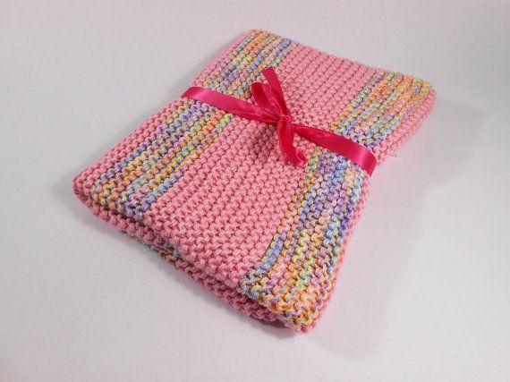 Coperta del bambino maglia striscia rosa Baby di ramsgirldesign