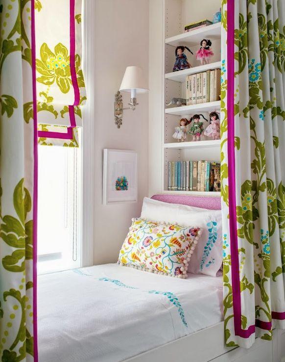 Trevor Tondro - girl's rooms - wall sconce, girls bedroom, bed under window, built-in bed under window, built-in bed below window, window be...
