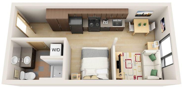 Boxcar Spur floor plan- wardrobe next to kitchen fridge, tiny bedroom