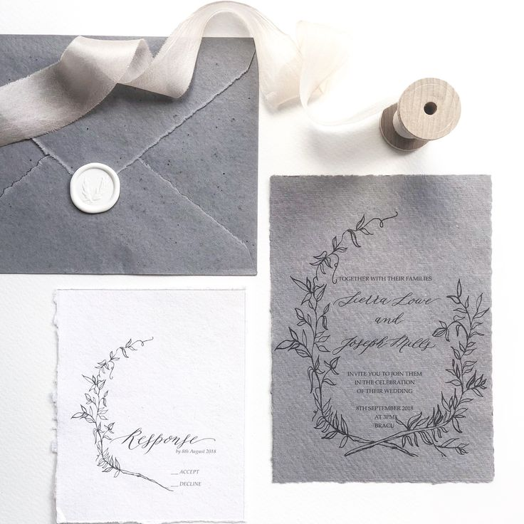 lotus flower wedding invitations%0A Calligraphy Wedding invitation  Floral wreath  black on gorgeous grey  handmade paper and RSVP on