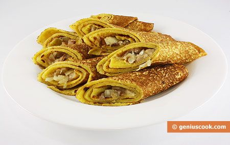 Pancakes with Herring and Onion