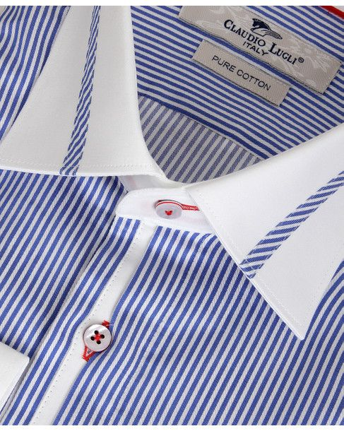 CLAUDIO LUGLI Mens Blue CONTRAST STRIPE TRIM SHIRT main image