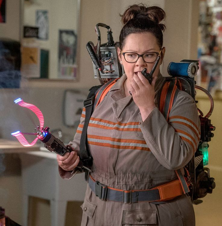 Ghostbusters 2016 Melissa McCarthy as Abby Yates in full costume with proton pack, PKE meter and walkie-talkie