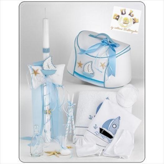 Το πακέτο περιλαβμάνει:  Τσάντα βάπτισης δερματίνη , καραβάκι Λαμπάδα βάπτισης Λαδόπανο με θέμα καράβι (σεντόνι, πετσέτες , εσώρουχα) Μπουκαλάκι Σαπουνάκι 3 κεράκια κολυμπήθρας Διαβάστε περισσότερα: http://www.oraxaras.com/