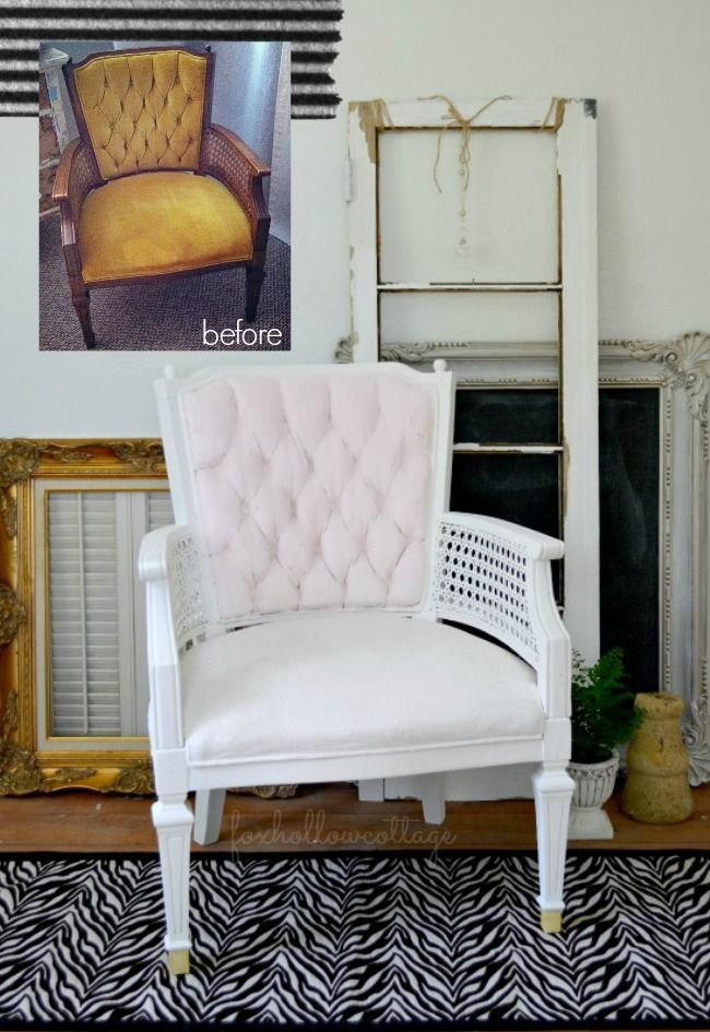 before and after velvet painted upholstery makeover: