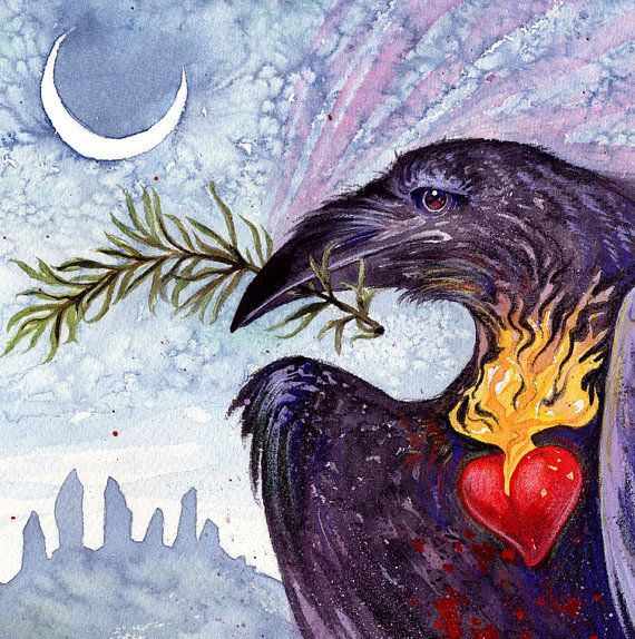 ROSEMARY is for REMEMBRANCE  Raven Heart Goddess by SigiDawn