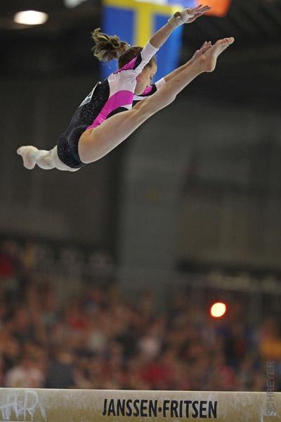 Andreea Munteanu (Romania) on balance beam at the 2012 European Championships