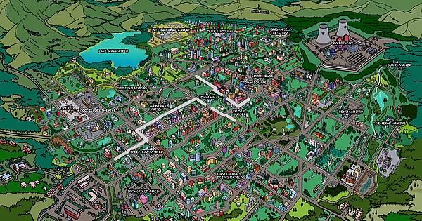 on map of springfield simpsons