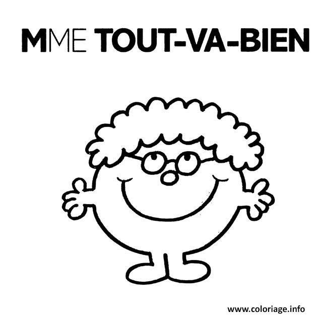 Coloriage Monsieur Madame Mme Tout Va Bien à Imprimer