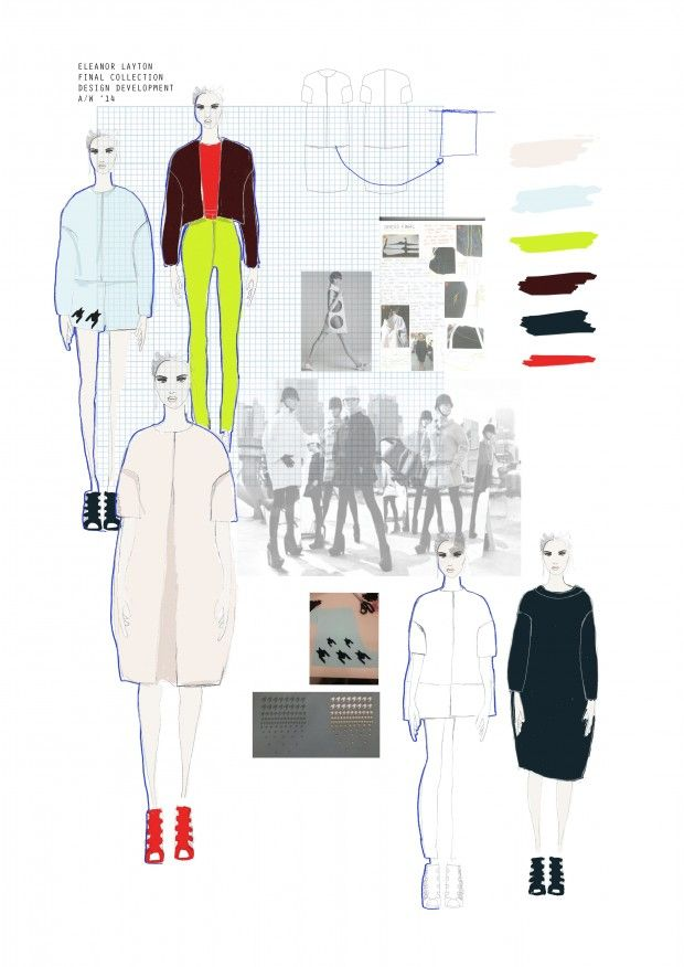 Design development; moodboard of collection consisting of sketches, colour choice, inspirational photographs