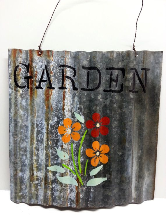 GARDEN Art Hand Painted Tin Sign Corrugated by Snowyowltreasures