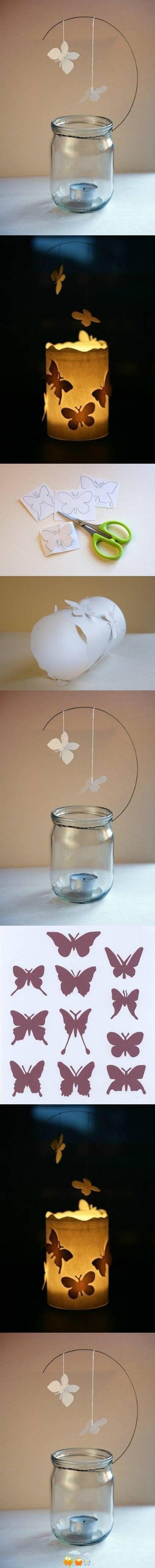 """""""Photophore papillons"""" facile à réaliser : un bocal, du papier, un fil métallique (par exemple, un cintre de pressing), des papillons découpés dans du papier.:"""
