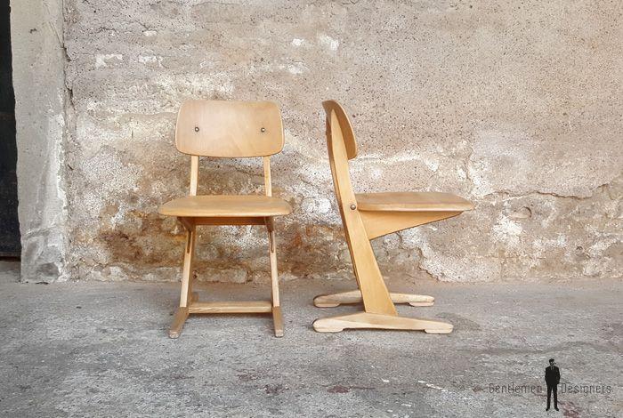 GENTLEMEN DESIGNERS // Chaises d'école vintage Casala, enfant, ado en bois