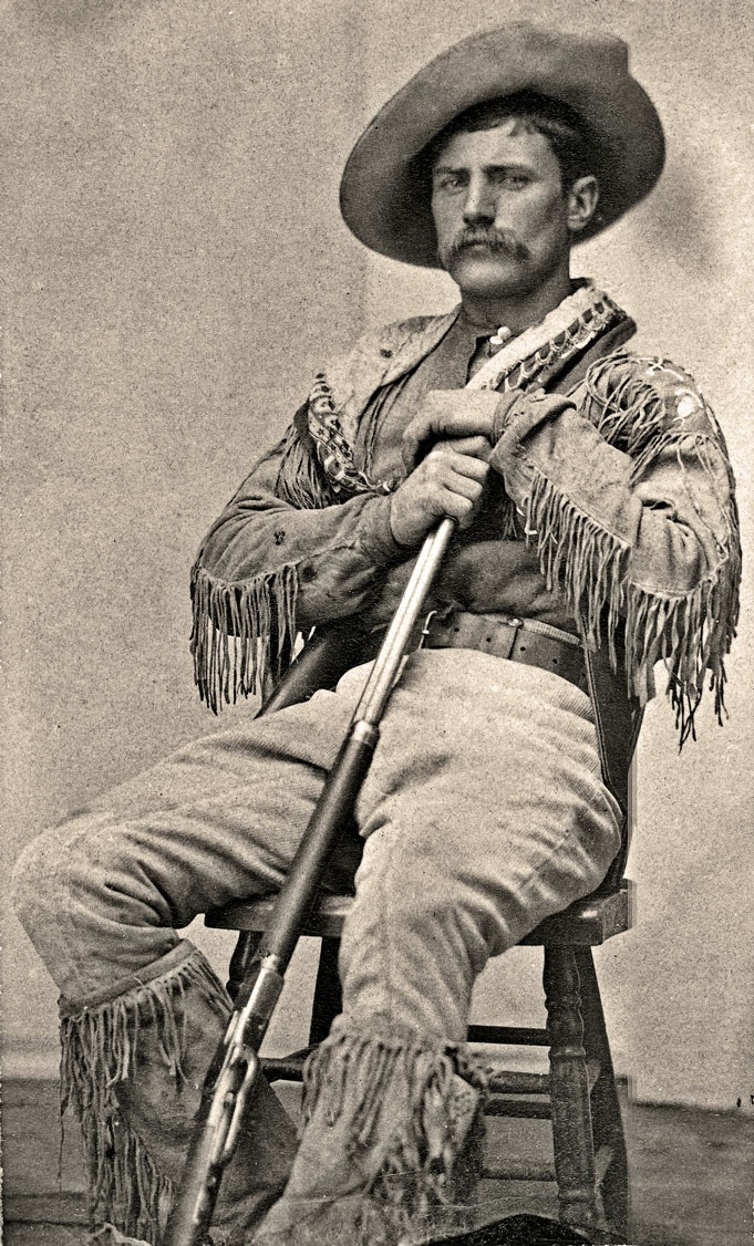 Shown at Fort Walsh, the North West Mounted Police outpost, in 1881, Jack Clark holds an 1873 Winchester and wears prairie attire that is in keeping with the Rocky Mountain Ranger uniform. The force often took on former policemen as civilian scouts, since many of them were intermarried with natives or Métis and thus offered valuable experience, especially during the years of Sitting Bull's Sioux exile in the Cypress Hills.   – Courtesy Provincial Archives of Alberta A.19402 –