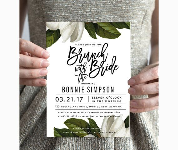 WHITE MAGNOLIA Printable Bridal Shower Invitation,southern brunch, DIY Party Invite