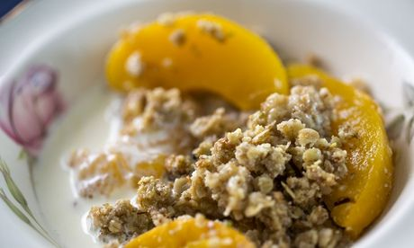 Jack Monroe's peach crumble recipe - wish I'd had the idea of melting the butter in the crumble mixture..... Jack Monroe is brilliant.