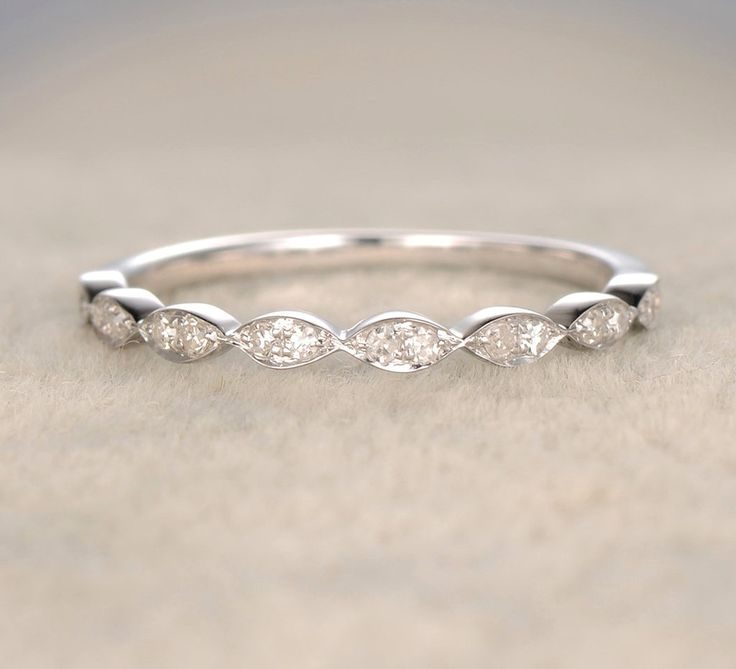 Pave Diamond Wedding Band Half Eternity Anniversary Ring 14K White Gold