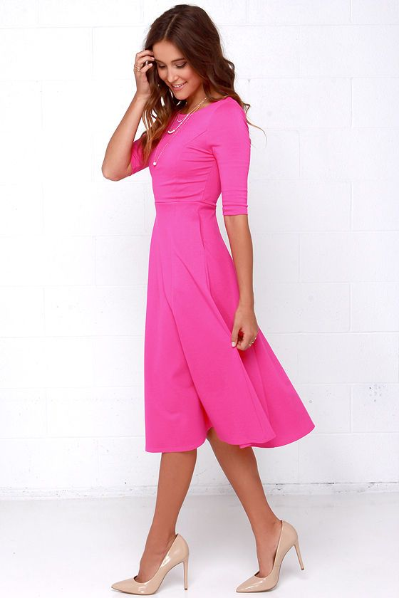 Having a Shindig Hot Pink Midi Dress