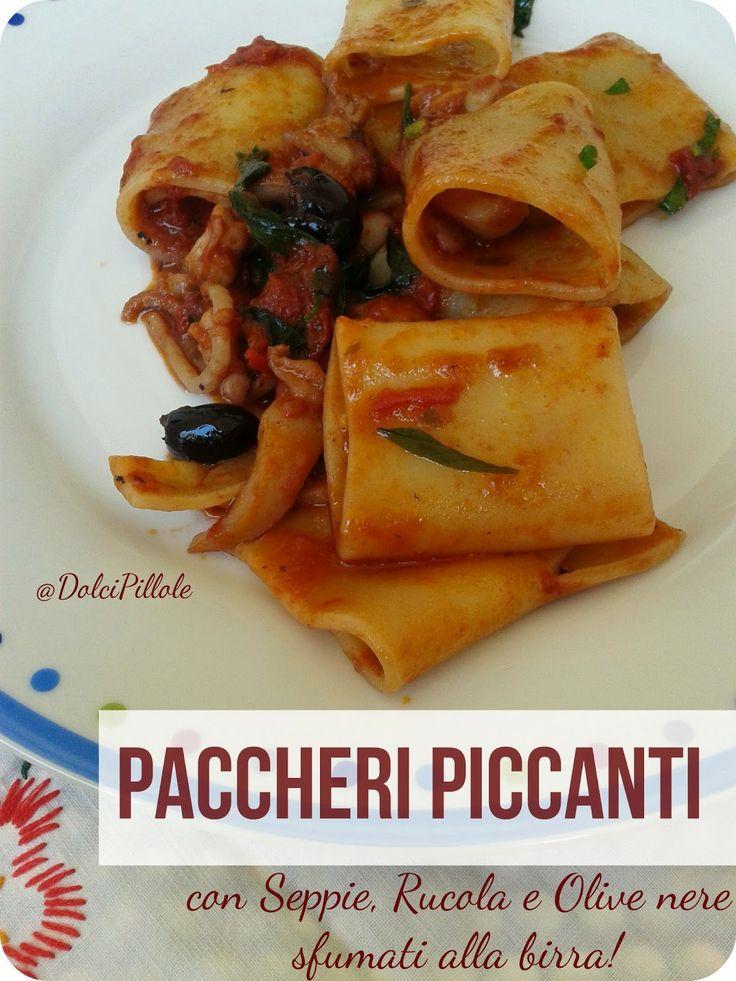 #Paccheri alle #seppie, #rucola e #olive nere, sfumati alla #birra! #primipiatti #pasta #italianfood