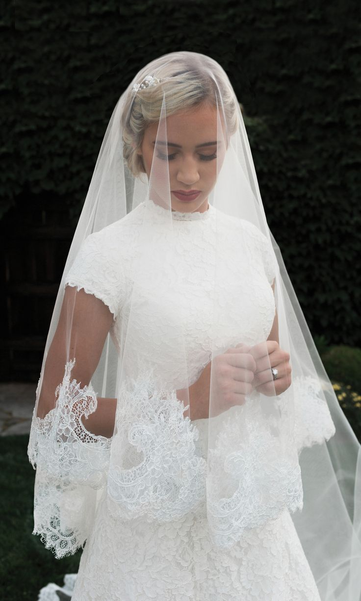 "Lace Mantilla or Drop 136"" Long Cathedral Wedding Veil Elegant Lace Mantilla or Drop Cathedral 136"" Long Wedding Veil."