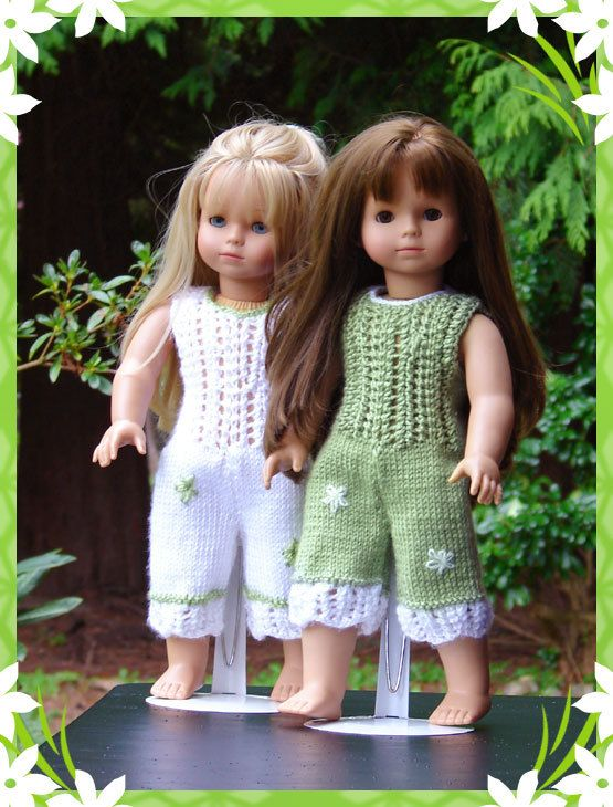 Kiah, a lace detailed jump suit knitting pattern for American Girl Dolls & 18in Gotz Dolls